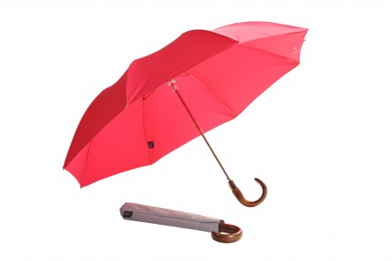 Ladies Folding Umbrella - cerise and grey